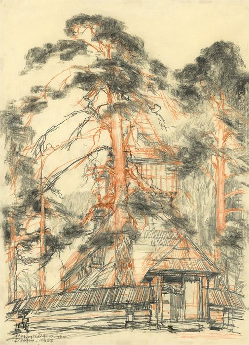grafika: Dębno - kościół Michała Archanioła, proj. Henryk Dąbrowski