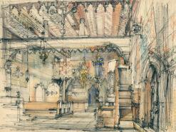 grafika: Dębno - wnętrze kościoła, proj. Henryk Dąbrowski