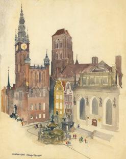 """grafika: """"Gdańsk - fontanna Neptuna"""", proj. Henryk Dąbrowski"""