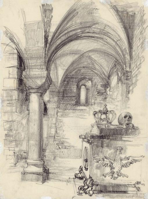"""grafika: """"Kraków- Wawel, sarkofag Sobieskiego"""", proj. Henryk Dąbrowski"""