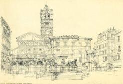 giclee: Rzym - piazza di Santa Maria, proj. Henryk Dąbrowski