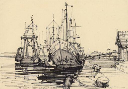 grafika: Bułgaria - port w Sozopolu, proj. Henryk Dąbrowski