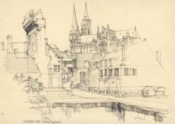 grafika: Chartres - katedra Notre Dame, proj. Henryk Dąbrowski