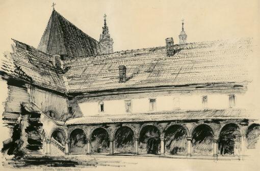 """grafika: """"Kraków-podwórko przy kościele Bożego Ciała"""", proj. Henryk Dąbrowski"""
