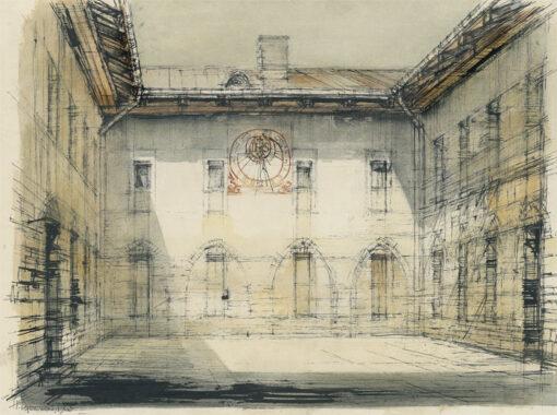 grafika: Rzym zegar słoneczny, proj. Henryk Dąbrowski