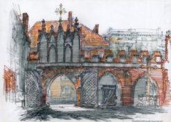 grafika: Toruń - brama klasztorna, proj. Henryk Dąbrowski
