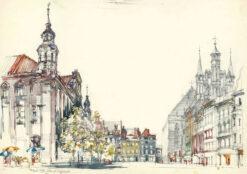 grafika: Toruń - ratusz, kościół , proj. Henryk Dąbrowski