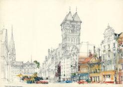 grafika: Toruń - rynek , proj. Henryk Dąbrowski