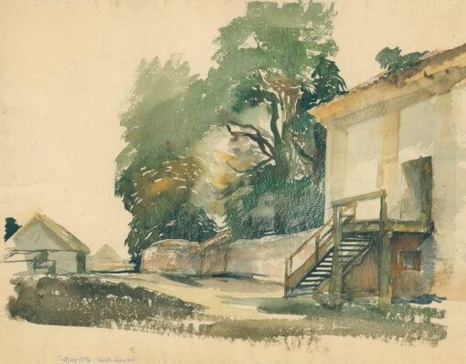 grafika: zabudowa wiejska w Tykocinie , proj. Henryk Dąbrowski