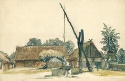 grafika: Zagroda wiejska z żurawiem w Tykocinie , proj. Henryk Dąbrowski
