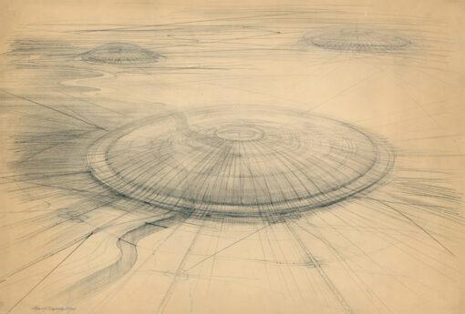 """grafika: Wizja architektoniczna - konstrukcje wielkoprzestrzenne """"UFO"""", proj. Henryk Dąbrowski"""