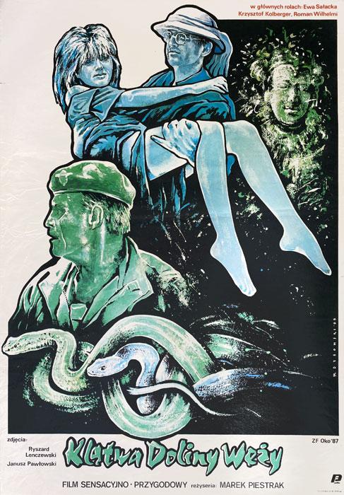 """Polska szkoła plakatu, plakat filmowy vintage PRL """"Klątwa Doliny węży"""", Witold Dybowski, 1988"""