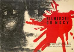 """Polska szkoła plakatu, plakat filmowy vintage PRL """"Silniejsi od nocy"""", Wojciech Fangor, 1957"""
