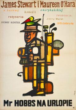 """Polska szkoła plakatu, oryginalny plakat filmowy vintage z okresu PRL """"Mr. Hobbs na urlopie"""", proj. Jerzy Flisak, 1965"""