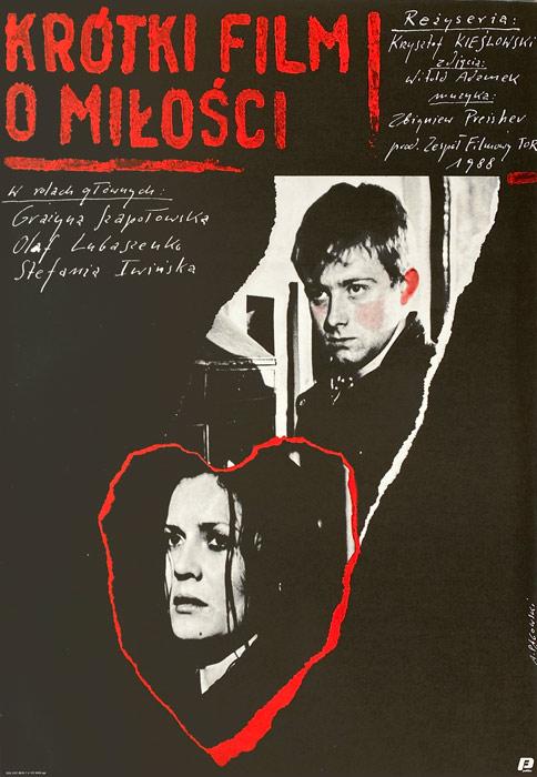 """Polska szkoła plakatu, plakat filmowy vintage PRL """"Krótki film o miłości"""" Andrzej Pągowski, 1988"""