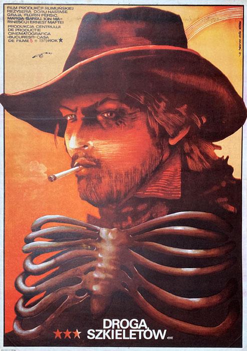 """Polska szkoła plakatu, plakat filmowy vintage PRL """"Droga szkieletów"""", Marek Płoza-Doliński, 1981"""