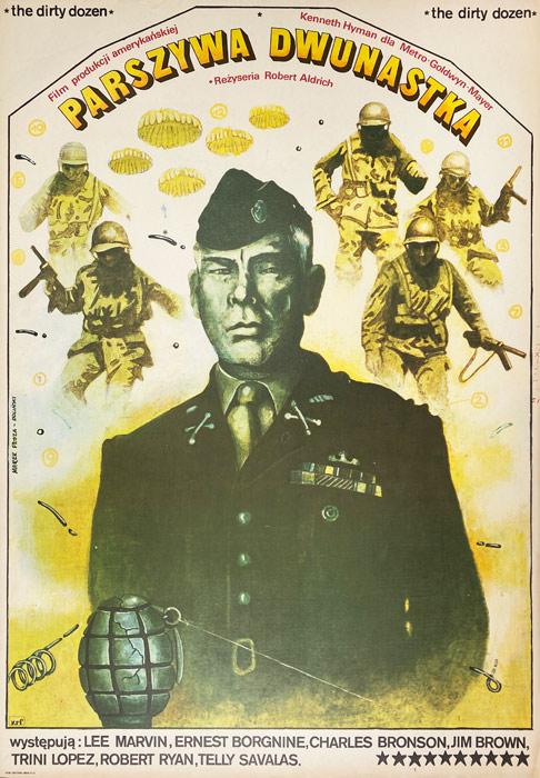 """Polska szkoła plakatu, plakat filmowy vintage PRL """"Parszywa dwunastka"""", Marek Płoza-Doliński, 1980"""