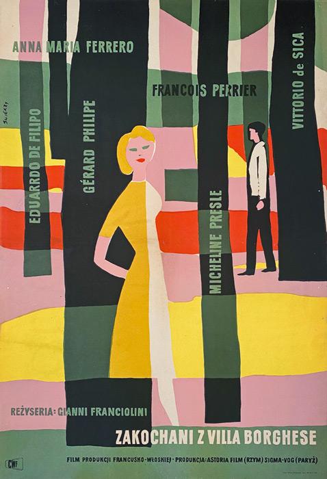 "Polish school of poster, Original vintage movie poster from PRL  ""Zakochani z Villa Borghese"", Waldemar Świerzy, 1956"