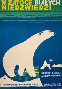 """Polska szkoła plakatu, plakat filmowy vintage PRL """"W zatoce białych niedźwiedzi"""", Adam Bowbelski, 1960"""