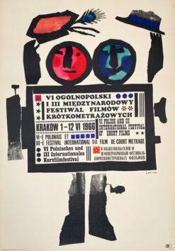 """Polska szkoła plakatu, oryginalny plakat filmowy vintage z okresu PRL """"Festiwal Filmów Krótkometrażowych, Jan Lenica, 1966"""""""