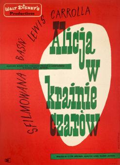 """Polska szkoła plakatu, plakat filmowy vintage PRL """"Alicja w krainie czarów"""", Eryk Lipiński, 1961"""