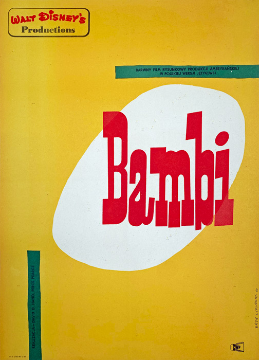 "Polish school of poster, Original vintage movie poster from PRL ""Bambi"", Eryk Lipiński, 1961"