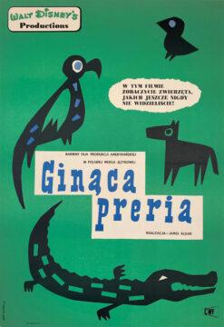 """Polska szkoła plakatu, plakat filmowy vintage PRL """"ginąca preria"""", Eryk Lipiński, 1961"""