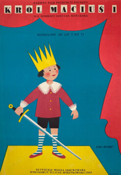 "Polska szkoła plakatu, plakat filmowy vintage PRL ""Król Maciuś I"", HA-GA, 1958"