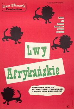 """Polska szkoła plakatu, plakat filmowy vintage PRL """"Lwy afrykańskie"""", Eryk Lipiński, 1961"""
