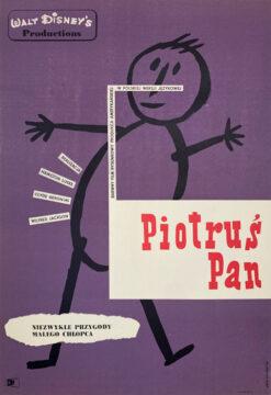 """Polska szkoła plakatu, plakat filmowy vintage PRL """"Piotruś Pan"""", Eryk Lipiński, 1961"""