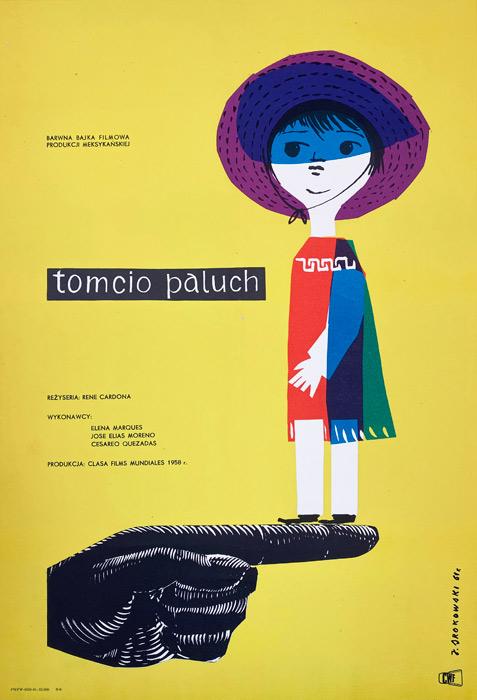 """Polska szkoła plakatu, plakat filmowy vintage PRL """"Tomcio Paluch"""", Jerzy Srokowski, 1961"""