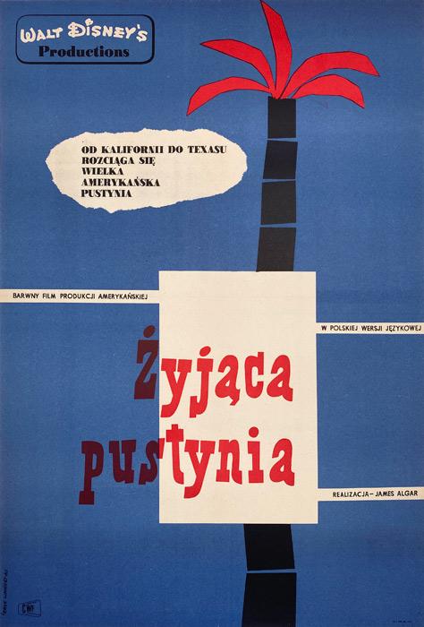 """Polska szkoła plakatu, plakat filmowy vintage PRL """"Żyjąca pustynia"""", Eryk Lipiński, 1961"""