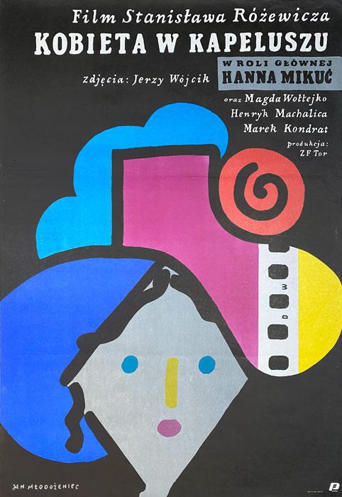 "Polish school of poster, Original vintage movie poster from PRL  ""Kobieta w kapeluszu"", proj. Jan Młodożeniec"