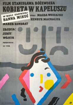 """Polska szkoła plakatu, oryginalny plakat filmowy vintage z okresu PRL """"Kobieta w kapeluszu"""", proj. Jan Młodożeniec"""