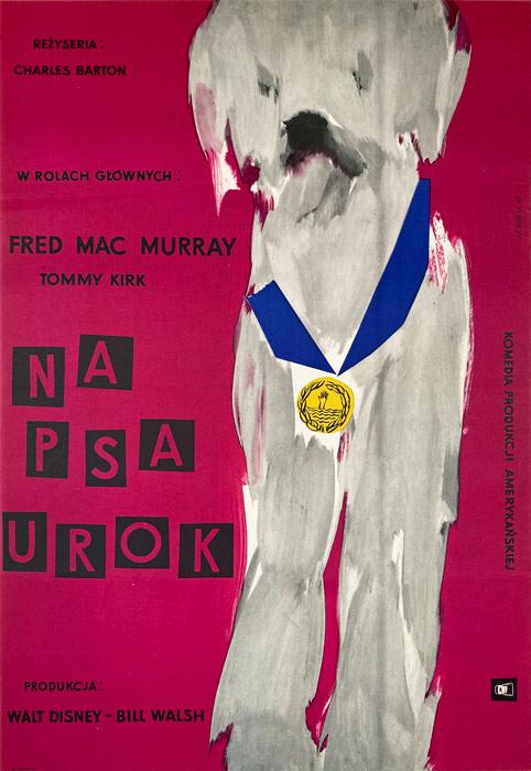 "Polska szkoła plakatu, plakat filmowy vintage PRL ""Na psa urok"", Roman Opałka, 1961"