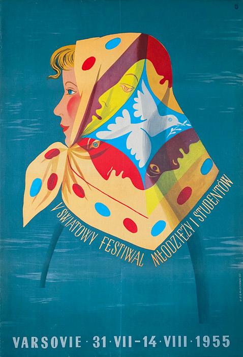"""Polska szkoła plakatu, oryginalny plakat vintage z okresu PRL """"V Światowy Festiwal Młodzieży"""", Olga Siemaszkowa, 1955"""