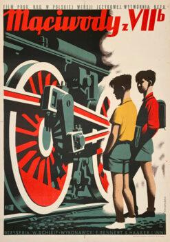 """Polska szkoła plakatu, oryginalny plakat filmowy vintage z okresu PRL """"Mąciwody z VIIb"""", Konstanty Maria Sopoćko, 1954"""