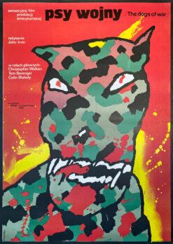 """Polska szkoła plakatu, oryginalny plakat filmowy vintage z okresu PRL """"Psy wojny"""", Waldemar Świerzy, 1984"""