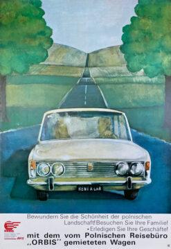 """Polska szkoła plakatu, plakat turystyczny vintage PRL """"Orbis - samochodem po Polsce"""" Maciej Urbaniec, ok. 1975"""