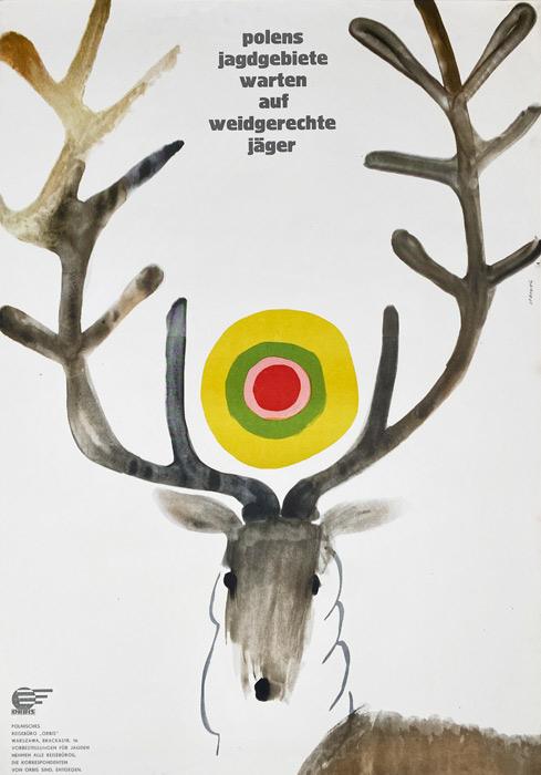 """Polska szkoła plakatu, plakat turystyczny vintage PRL """"Orbis - Polens Jagdgebiete"""" Maciej Urbaniec, 1967"""