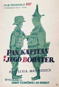 """Polska szkoła plakatu, plakat filmowy vintage PRL """"Pan kapitan i jego bohater"""", Zygmunt Anczykowski, 1957"""