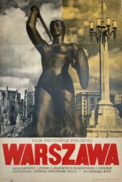 """Polska szkoła plakatu, plakat filmowy vintage PRL """"Warszawa"""", proj. Mieczysław Berman, 1953"""