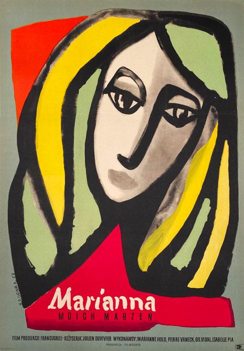 "Polska szkoła plakatu, plakat filmowy vintage PRL ""Marianna moich marzeń"", proj. Hanna Bodnar, 1958"