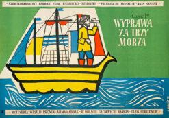 """Polska szkoła plakatu, plakat filmowy vintage PRL """"Wyprawa za trzy morza"""", proj. Hanna Bodnar, 1959"""