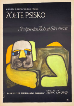 "Polska szkoła plakatu, plakat filmowy vintage PRL ""Żółte psisko"", proj. Hanna Bodnar, 1961"