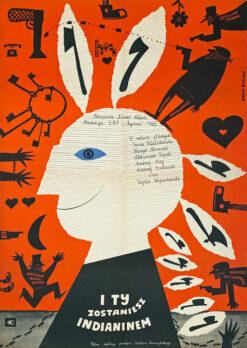 """Polska szkoła plakatu, plakat filmowy vintage PRL """"I ty zostaniesz Indianinem"""", Bohdan Butenko, 1962"""