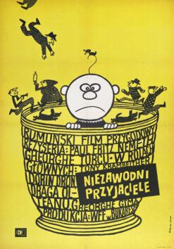 """Polska szkoła plakatu, plakat filmowy vintage PRL """"Niezawodni przyjaciele"""", Bohdan Butenko, 1970"""