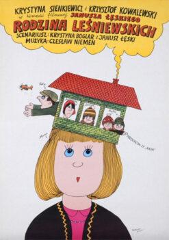 """Polska szkoła plakatu, plakat filmowy vintage PRL """"Rodzina Leśniewskich"""", Bohdan Butenko, 1981"""