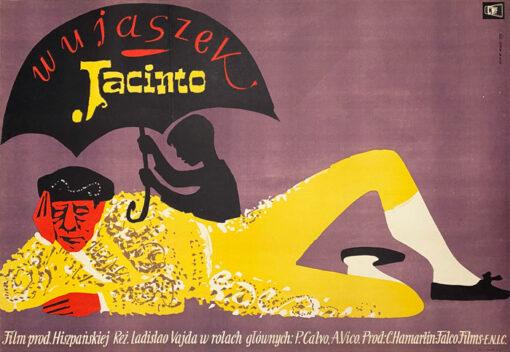 """Polska szkoła plakatu, plakat filmowy vintage PRL """"Wujaszek Jacinto"""", Jerzy Cherka, 1959"""