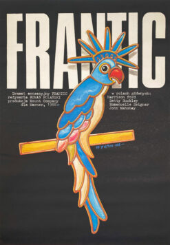 "Polska szkoła plakatu, plakat filmowy, vintage PRL ""Frantic"", proj. Jakub Erol, 1988"